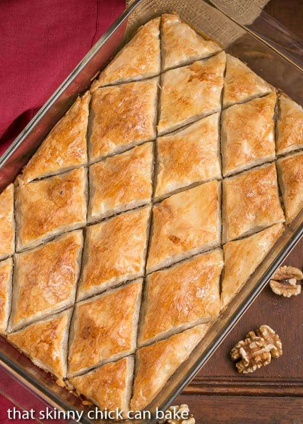 Gretchen's Baklava | My mom's baklava with layers of buttery filo & a walnut filling doused with orange blossom water kissed sugar syrup