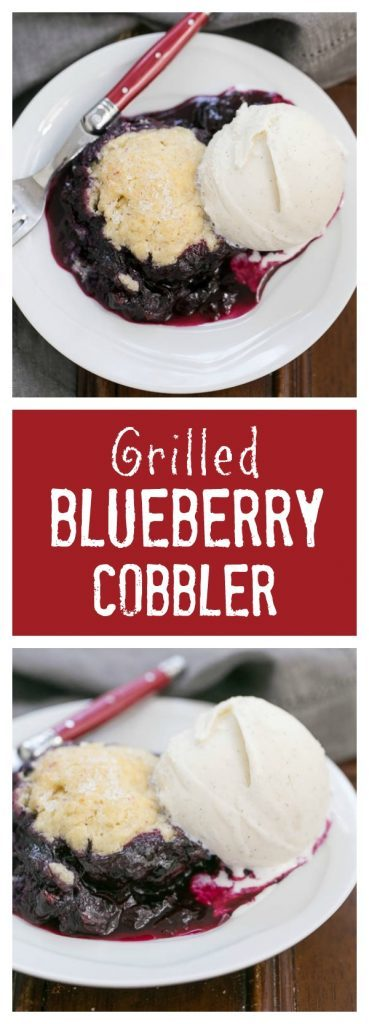 Grilled Blueberry Cobbler | A rustic berry dessert made on the BBQ!