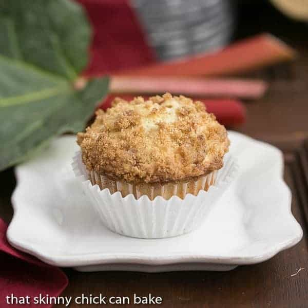 Streusel Topped Rhubarb Muffins | Moist, tender muffins filled with diced rhubarb and topped with a buttery streusel