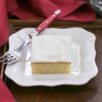 White Sheet Cake | Moist, tender with a touch of almond extract. Perfect when you need to serve a crowd!