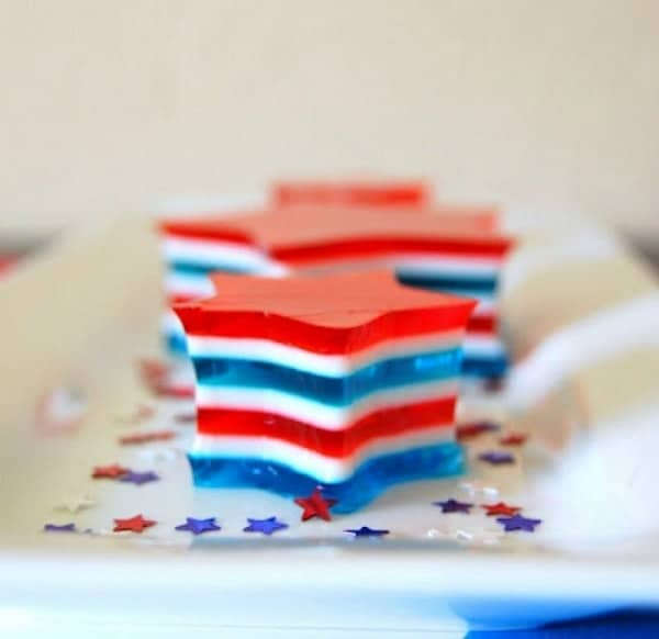 4th of July Jello Stars on a white serving platter
