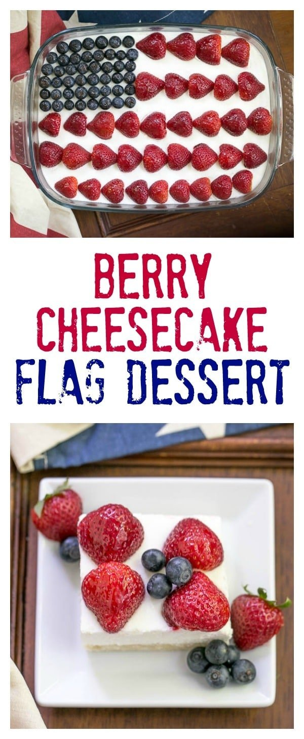 Berry Cheesecake Flag Dessert | Shortbread crust covered with a light whipped cheesecake filling, then decked out like the American flag with luscious, ripe berries!