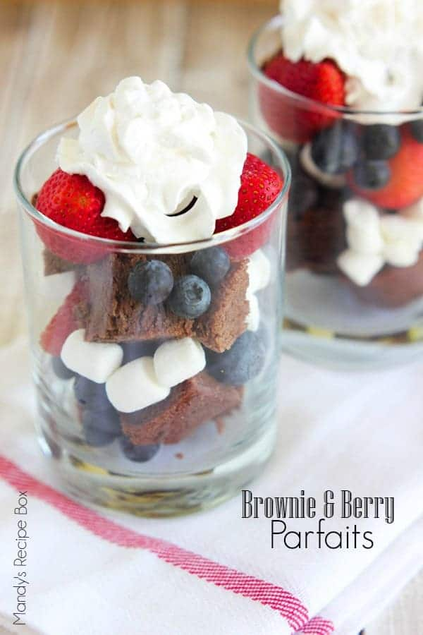 Brownie and Berry Parfaits in clear serving glasses