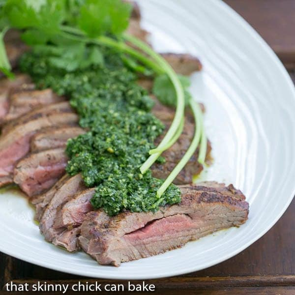 Flank Steak with Chimichurri Sauce - That Skinny Chick Can Bake