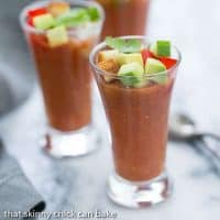 Gazpacho Shooters | Appetizer size portions of the classic Spanish gazpacho