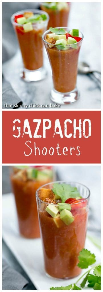 Gazpacho Shooters - Appetizer size portions of the classic Spanish gazpacho