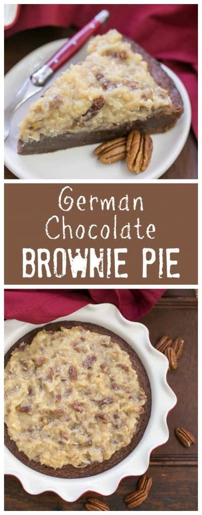 German Chocolate Brownie Pie   Fudgy brownie pie topped with the classic German chocolate frosting!