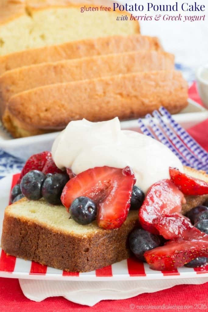 Gluten Free Potato Pound Cake with Berries on a red and white striped plate