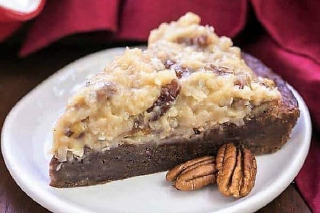 German Chocolate Brownie Pie slice on a white dessert plate