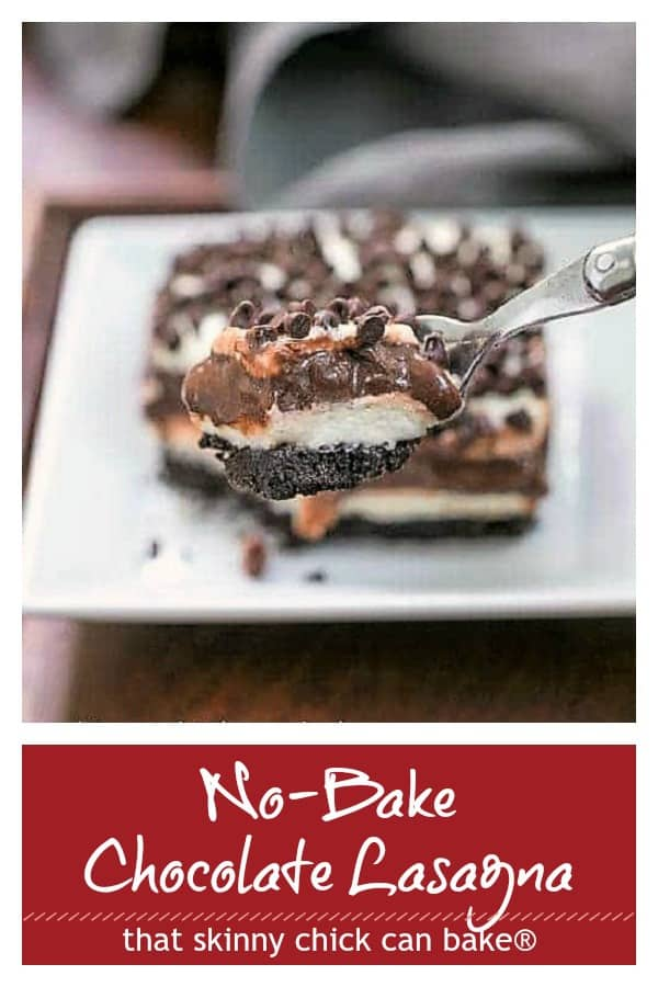 No-Bake Chocolate Lasagna photo and text collage