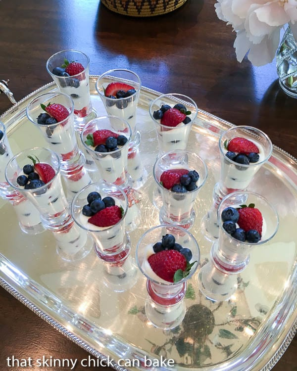 White Chocolate Berry Parfaits | Luscious ripe berries layered with a Frangelico spiked white chocolate mousse