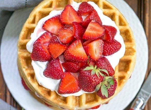 Strawberry Waffle Cake | A sensational layered dessert reminiscent of strawberry shortcake
