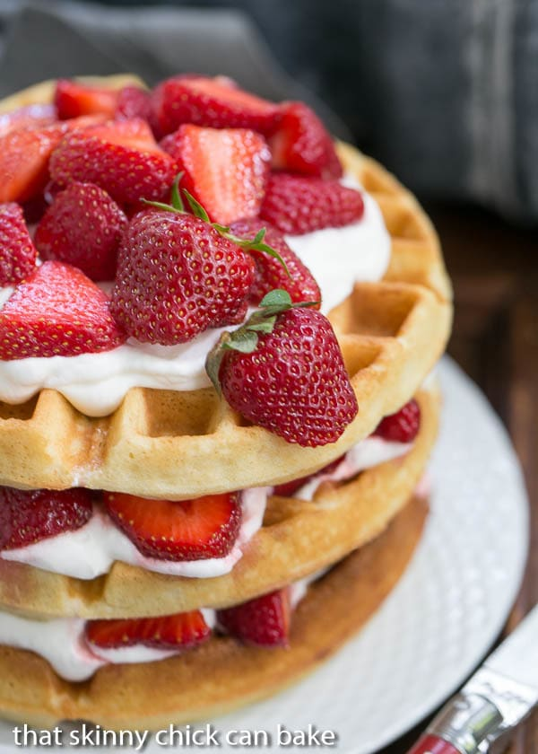 Strawberry Waffle Cake on a white plate