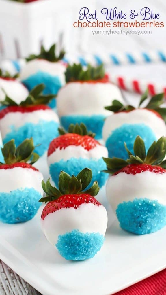 White Chocolate Covered Strawberries For Th Of July