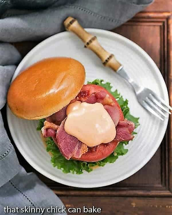 Overhead view of a BLT Burger with Spicy Mayonnaise