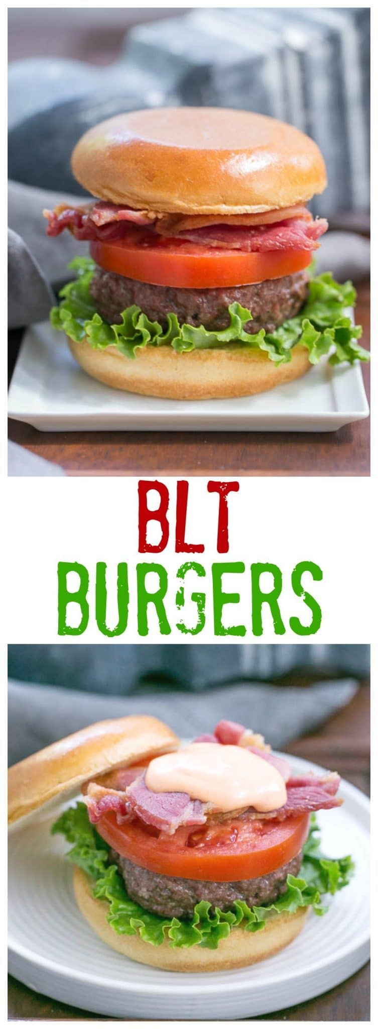 BLT Burgers | With a double dose of bacon and a spicy Sriracha mayo, these burgers are out of this world!