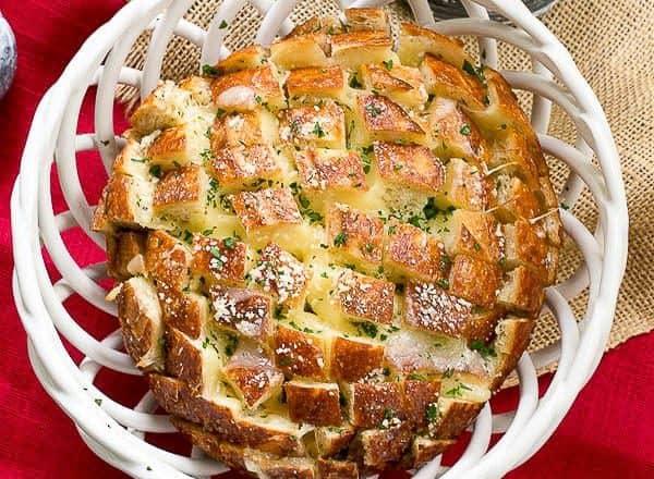 Cheesy Garlic Bread | A crosshatch cut loaf full of melty cheese and garlic!