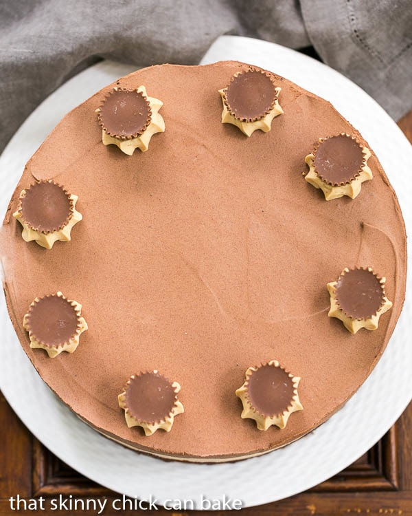 Overhead view of Peanut Butter Chocolate Mousse Cake