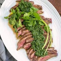 Grilled Flank Steak with Chimichurri Sauce | A fabulous, spicy herb topping for your beef!