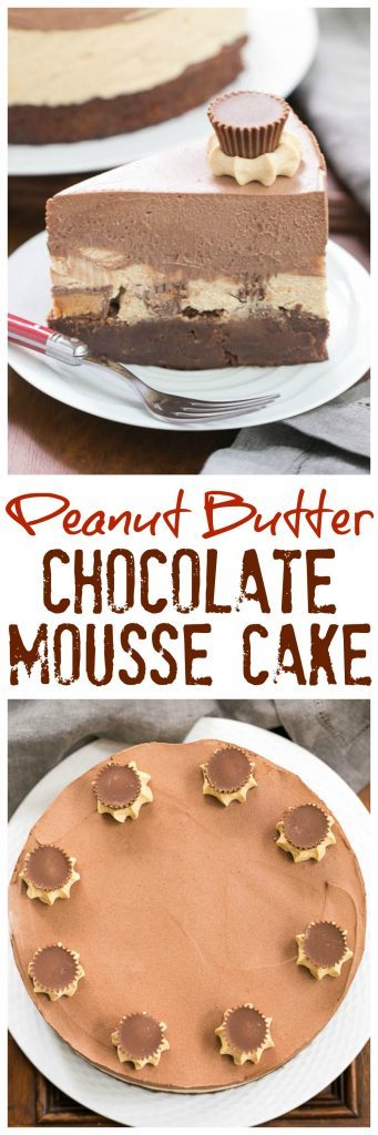 Peanut Butter Chocolate Mousse Cake | A brownie base topped with both peanut butter and chocolate mousse make a dream dessert!