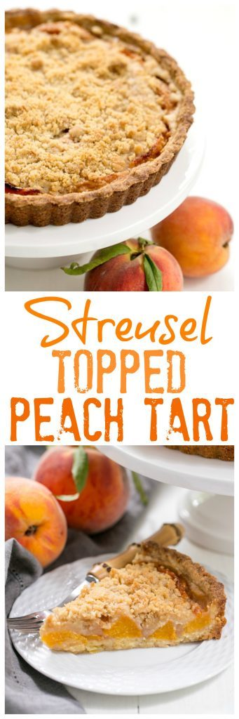 Streusel Topped Peach Tart #peachdessert | A sweet crust, fresh peaches and buttery streusel make for a fabulous summer dessert!