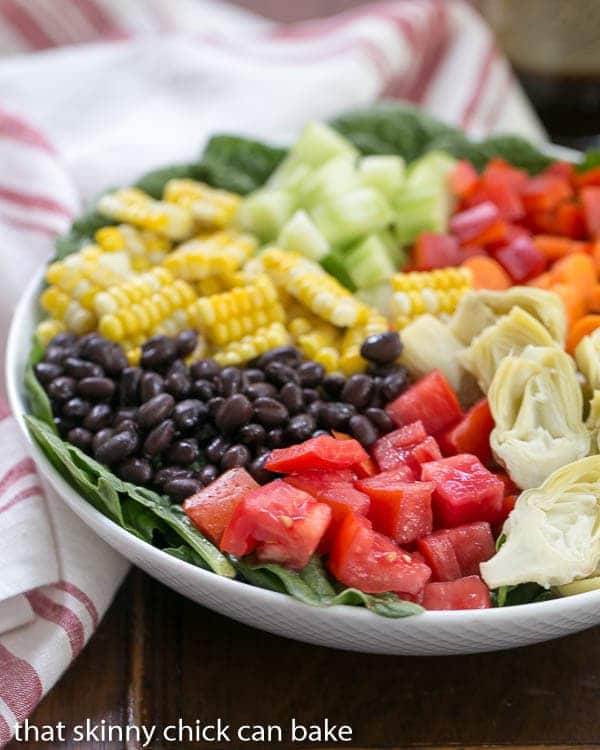 Summer Vegetable Salad in a white serving bowl