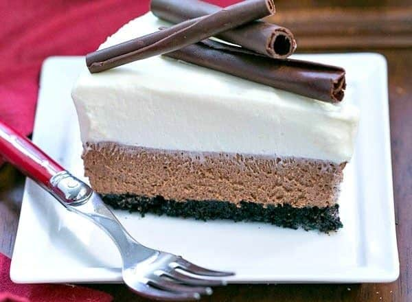 Triple Chocolate Mousse Pie   A dreamy pie topped with both dark and white chocolate mousse