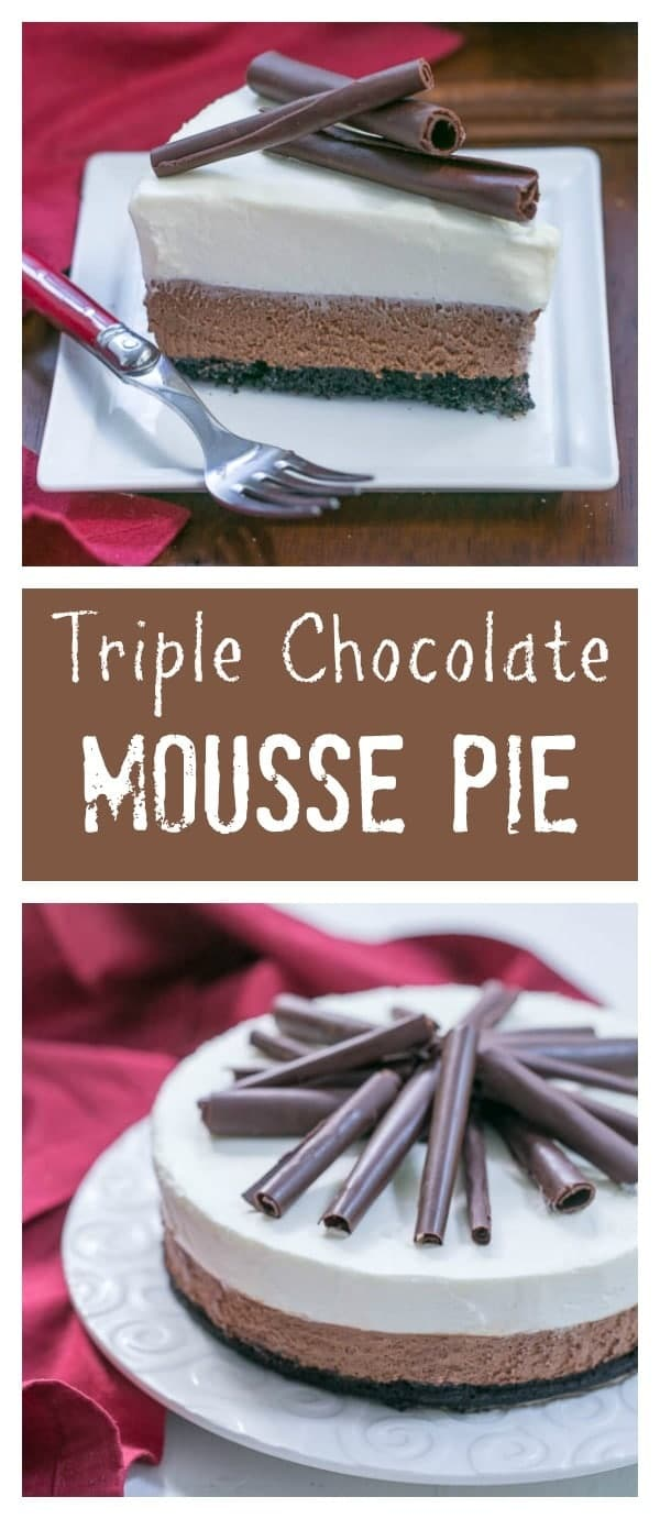 Triple Chocolate Mousse Pie | A dreamy pie topped with both dark and white chocolate mousse