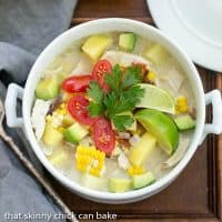 Bacon Corn Chowder | A summer soup full of corn, potatoes, chicken and smoky bacon!