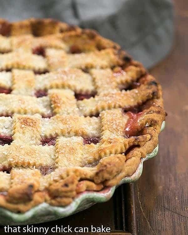 Classic Rhubarb Pie in pie plate