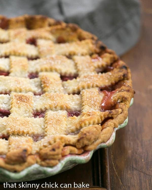 Classic Rhubarb Pie | A lattice crust beauty packed full of rhubarb
