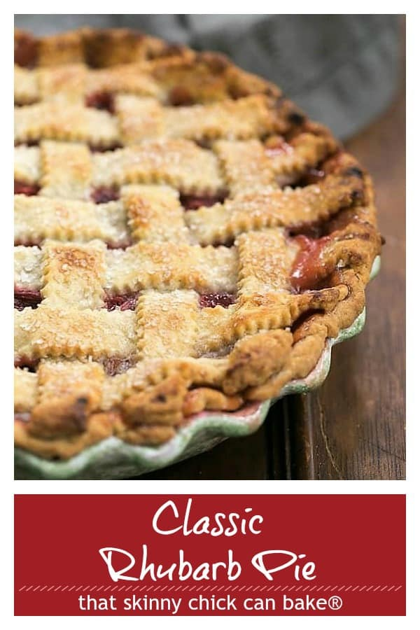Classic rhubarb pie pinterest photo and text collage