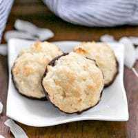 Coconut Macaroons on a white square plate