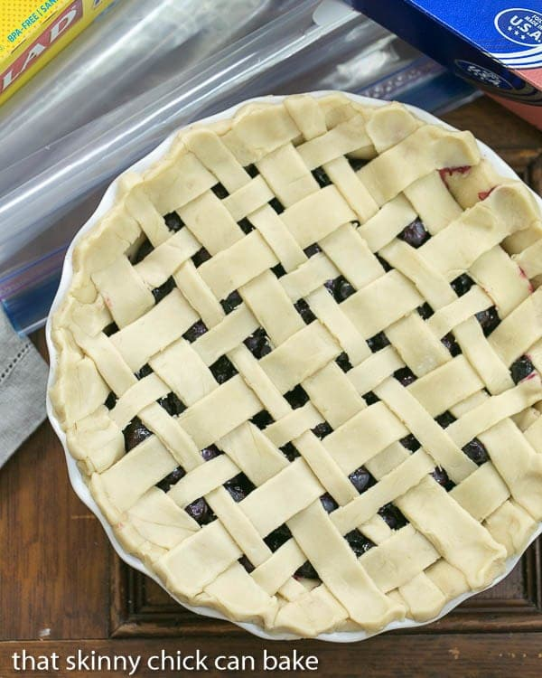 Freeze and Bake Blueberry Pie lattice crust viewed from above before baking