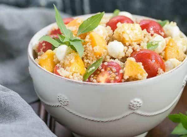 Peach Quinoa Caprese Salad   A tasty twist on the classic Italian salad with peaches and quinoa