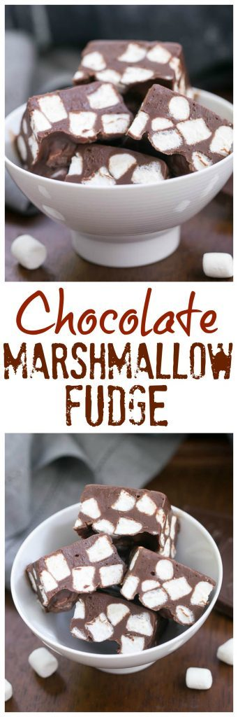 Chocolate Marshmallow Fudge | Only 3 ingredients and a few minutes to have a batch of super rich, delicious fudge!