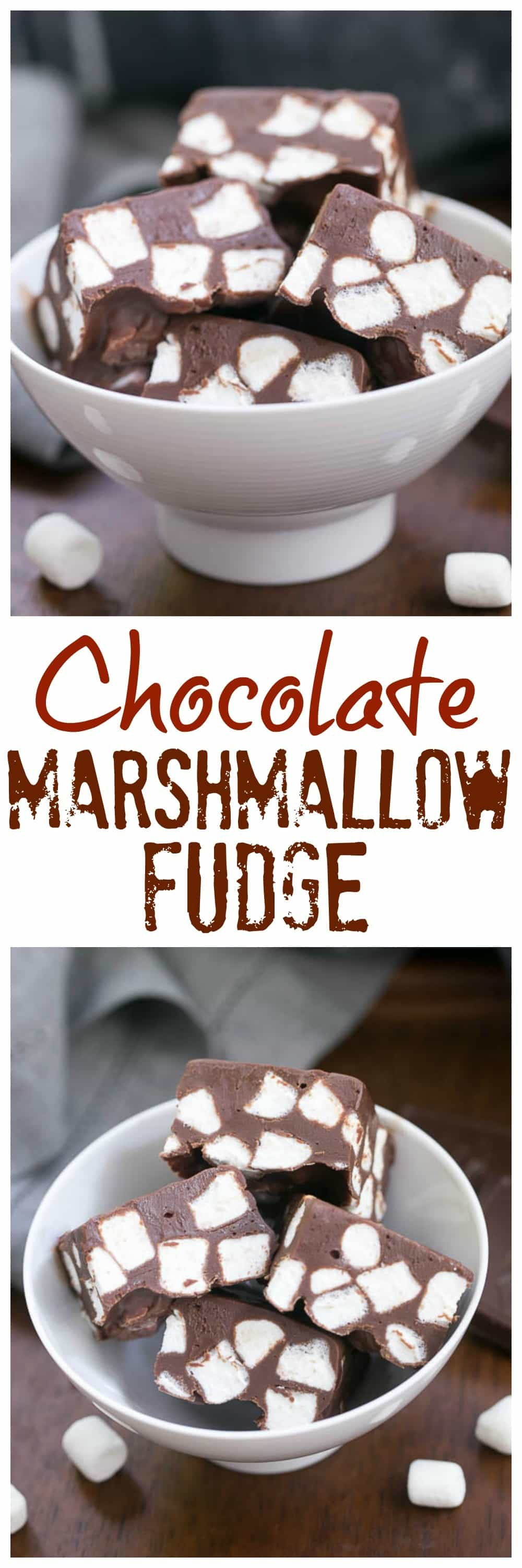 Chocolate Marshmallow Fudge - Only 3 ingredients and a few minutes to have a batch of super rich, delicious fudge! #fudge #easyrecipe #marshmallows