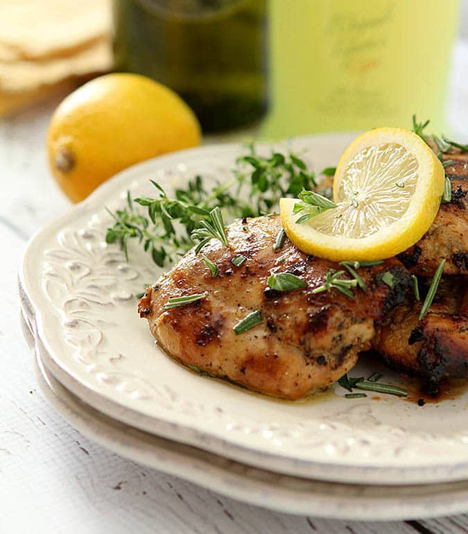 Limoncello and Herb Barbecue Chicken Thighs for National Chicken Month