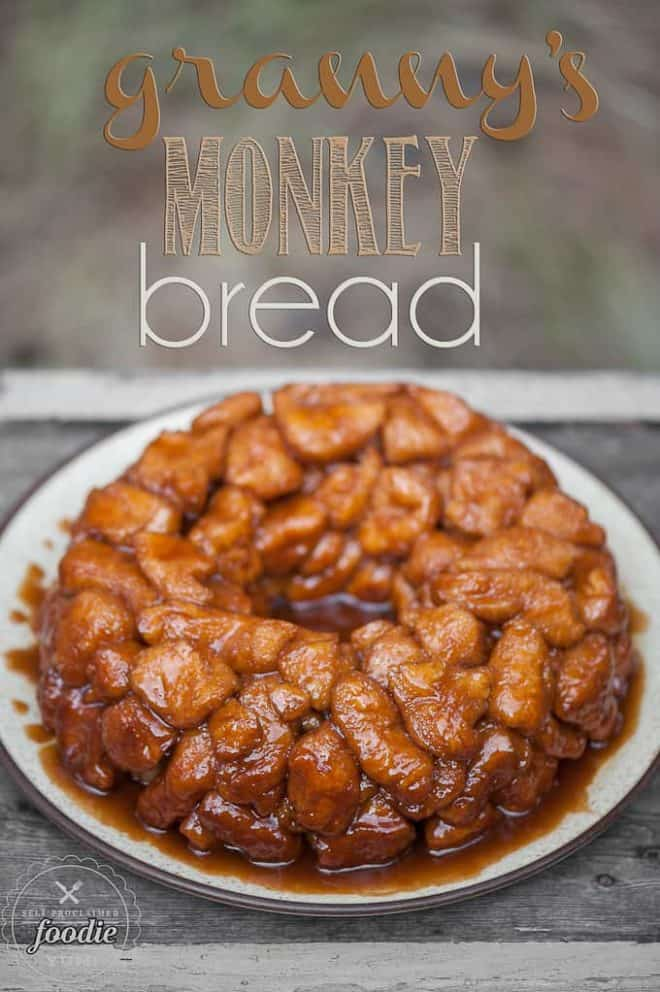 Granny's Monkey Bread on a White Plate