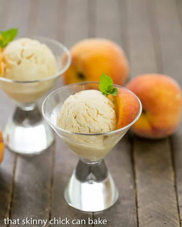 No Churn Roasted Peach Ice Cream  in martini glasses