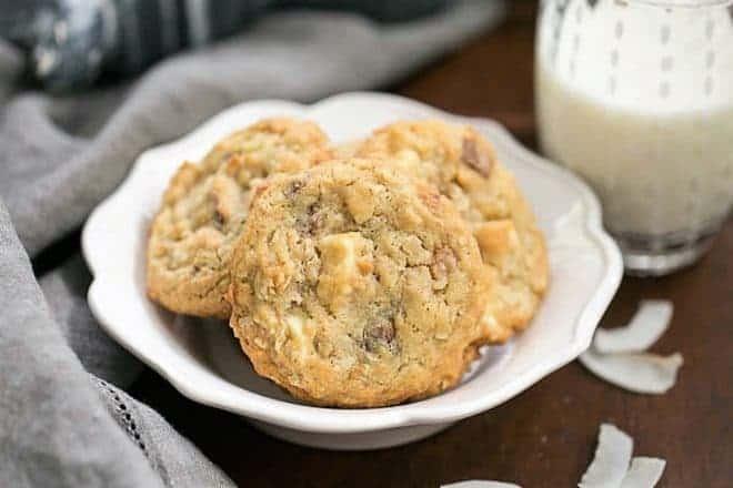 White Chocolate Toffee Chunk Cookies