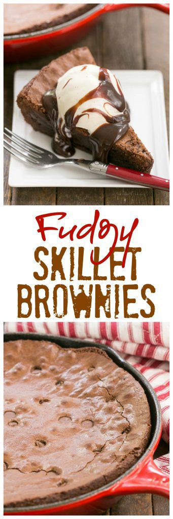 Fudgy Skillet Brownies | One bowl, one pan, one decadent dessert!