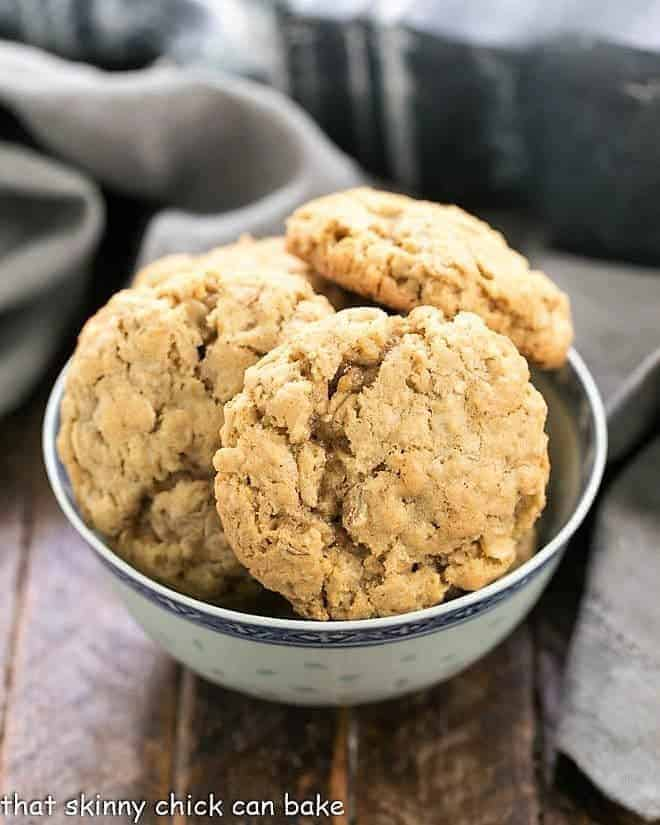 Classic Oatmeal Cookies in a blue and white ceramic bowl