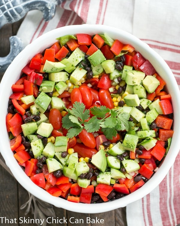 Overhead view of a Tex-Mex Fiesta Salad in a white salad bowl