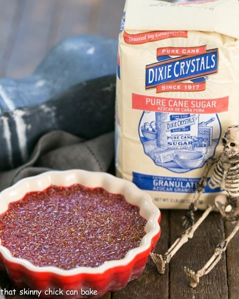 Bloody Crème Brûlée | The classic vanilla custard with burnt sugar topping and a ghoulish twist!