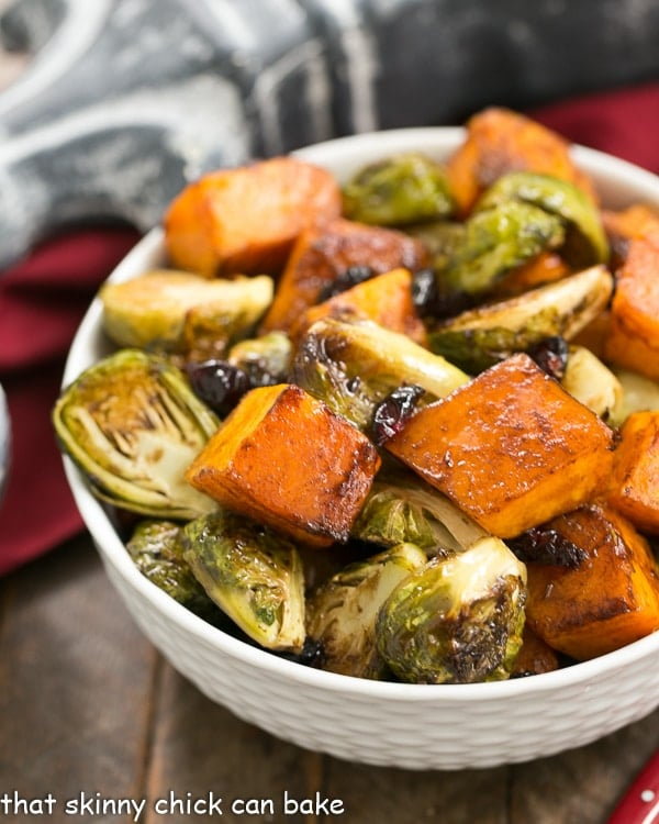 Roasted Autumn Vegetables  in a white basketweave bowl