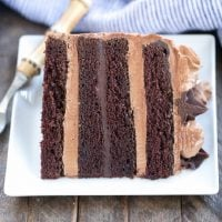 Slice of chocolate fudge layer cake on a white plate