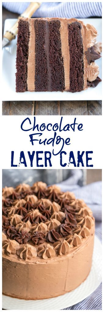 Chocolate Fudge Layer Cake  photo and text collage