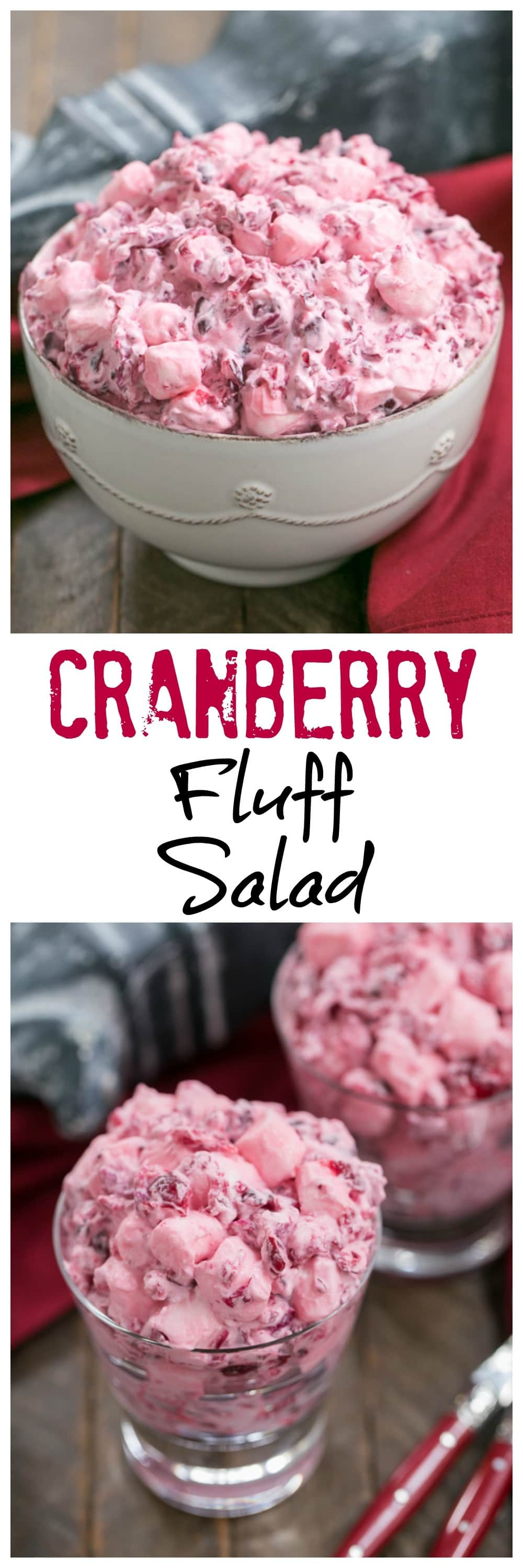Cranberry Fluff Salad - A simple version of the classic Thanksgiving side dish! #thanksgiving #holidayrecipe #thanksgivingsidedish #cranberrysalad #cranberryrecipe