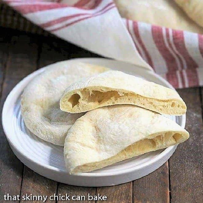 Homemade Pita Bread on a round white plate